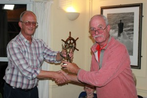 Alan Hodgson receiving the SSC Fishing Champion trophy from David Meadway