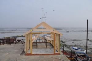 Starting Hut new roof frame 3rdApril2014