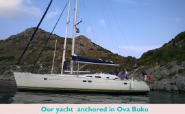 Our yacht  anchored in Ova Buku