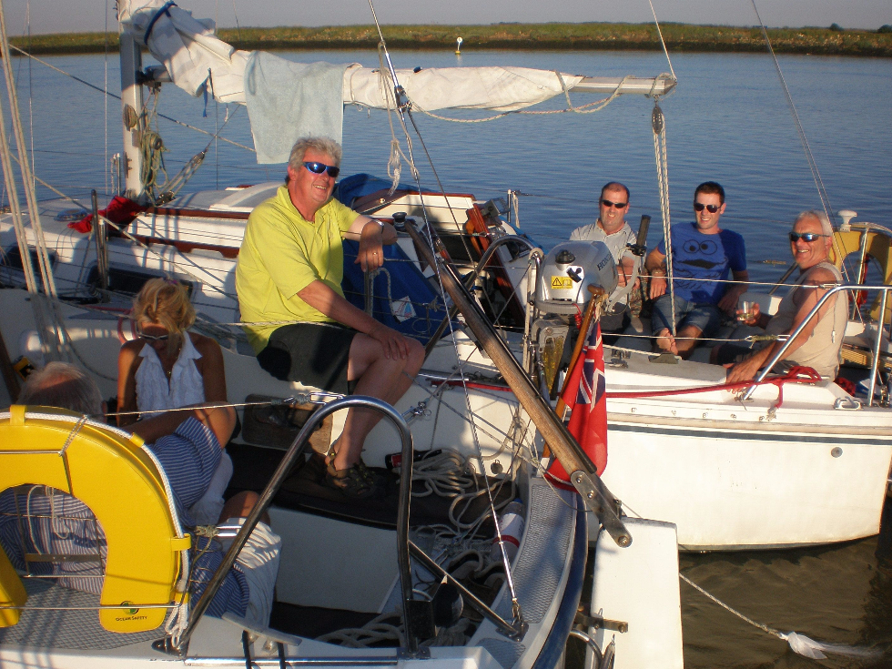 Havergate Island: rafted up for the evening meal before breaking loose to anchor